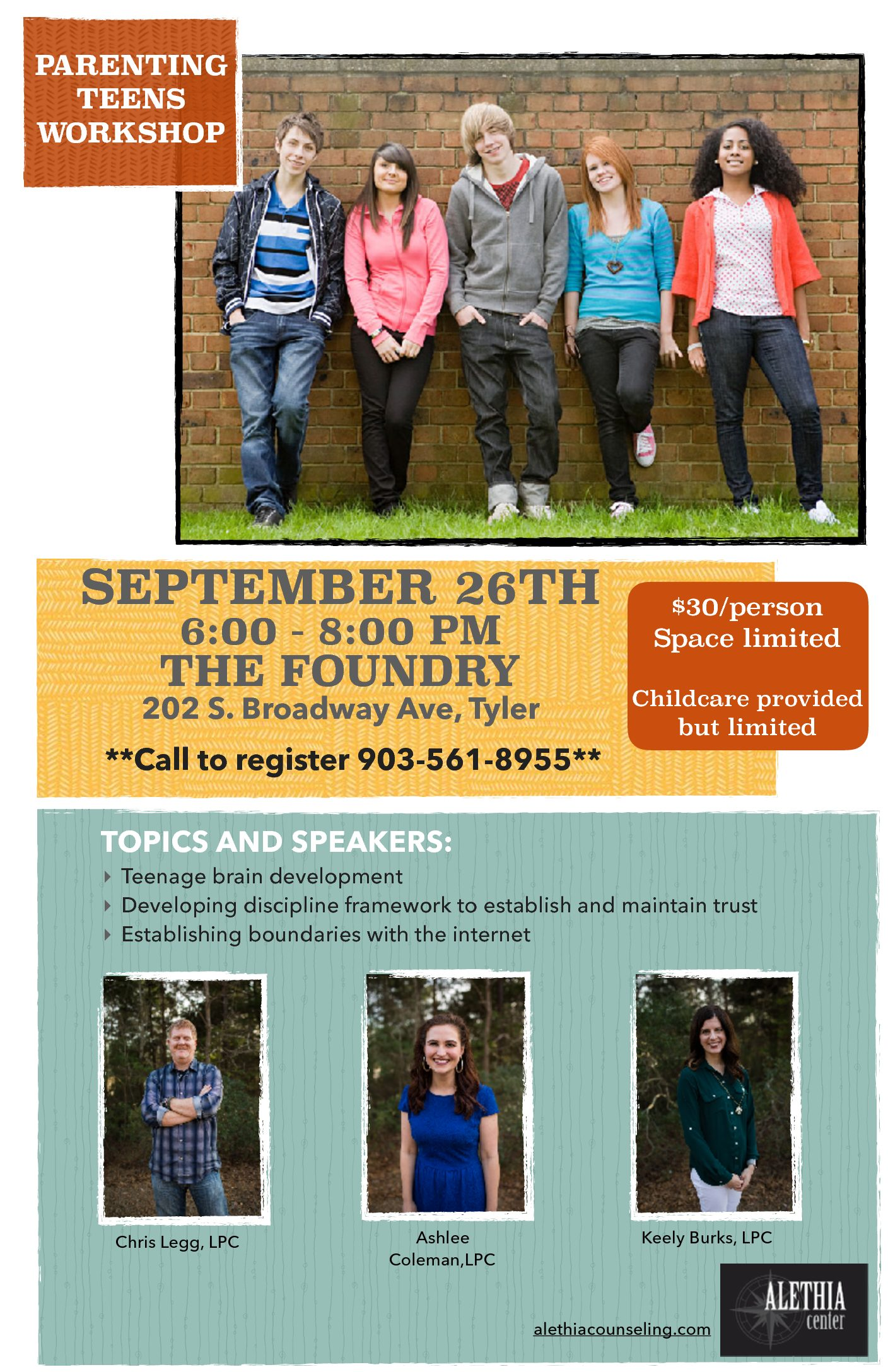 Sign up for our Parenting Teens Workshop – Sept 26th